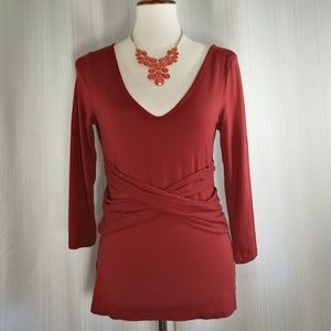 LOFT Ann Taylor Burgundy Blouse Size Medium